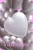 Biglietto di S. Valentino d'argento Fotografia Stock