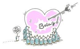 Biglietto di S. Valentino dei pinguini Immagini Stock Libere da Diritti