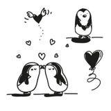 Biglietto di S. Valentino dei pinguini Fotografia Stock