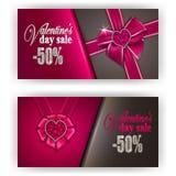 Biglietto di S. Valentino del buono di regalo Fotografia Stock Libera da Diritti