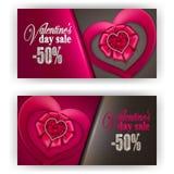 Biglietto di S. Valentino del buono di regalo Immagini Stock Libere da Diritti