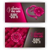 Biglietto di S. Valentino del buono di regalo Fotografia Stock