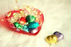 Biglietto di S. Valentino del cioccolato del cuore di amore nel colore dolce Immagini Stock Libere da Diritti