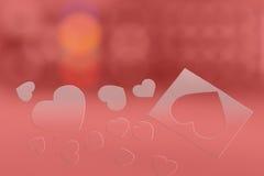 Biglietto di S. Valentino del cuore con il fondo del brokeh Fotografia Stock Libera da Diritti