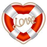 Biglietto di S. Valentino del cuore della fascia di vita Fotografia Stock