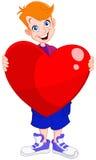 Biglietto di S. Valentino del cuore della holding del bambino Fotografia Stock Libera da Diritti