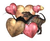Biglietto di S. Valentino del dinosauro su bianco Fotografia Stock Libera da Diritti