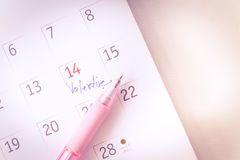 Biglietto di S. Valentino del primo piano il 14 febbraio Immagini Stock Libere da Diritti