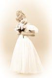 Biglietto di S. Valentino del ritratto dell'annata della bambina Fotografie Stock Libere da Diritti