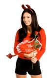 Biglietto di S. Valentino della donna del diavolo fotografia stock libera da diritti