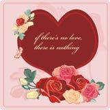 Biglietto di S. Valentino delle rose del cuore Fotografia Stock