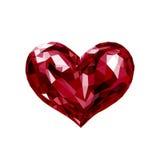 Biglietto di S. Valentino di cristallo rosso del cuore di Lowpoly Fotografia Stock