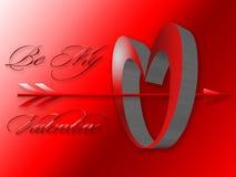 biglietto di S. Valentino di immagine del cuore 3D con la freccia immagini stock libere da diritti