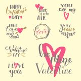 Biglietto di S. Valentino disegnato a mano delle sovrapposizioni del testo di vettore ti amo che segna l'illustrazione con letter Fotografie Stock
