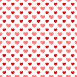 Biglietto di S. Valentino disegnato a mano senza cuciture dei cuori Immagini Stock