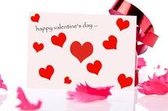 Biglietto di S. Valentino felice. nastro rosso Immagini Stock