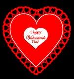 Biglietto di S. Valentino felice rosso e bianco \ \ \ 'giorno di s Immagini Stock Libere da Diritti