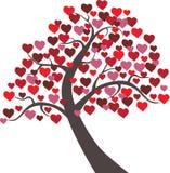 Biglietto di S. Valentino floreale di vettore dei cuori dell'albero Immagini Stock