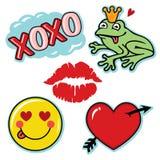 Biglietto di S. Valentino fresco ed insieme dell'icona di amore di divertimento Fotografia Stock
