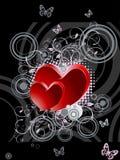 Biglietto di S. Valentino nero e rosso, giorno di s Immagini Stock Libere da Diritti