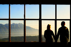 Biglietto di S. Valentino Romance sulla montagna in mattina Tailandia Fotografia Stock Libera da Diritti