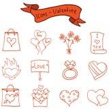 Biglietto di S. Valentino romanzesco di tema delle icone illustrazione di stock