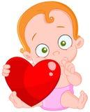 Biglietto di S. Valentino rosso della neonata dei capelli Immagine Stock