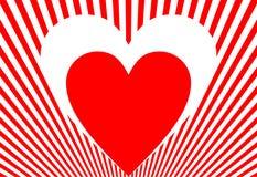 Biglietto di S. Valentino in rosso ed in bianco Fotografia Stock Libera da Diritti