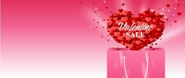 Biglietto di S. Valentino, sacchetto della spesa Fotografie Stock