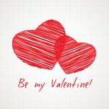 Biglietto di S. Valentino scritto a mano della carta Immagine Stock
