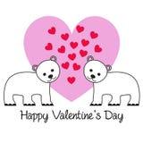 Biglietto di S. Valentino sveglio degli orsi su cuore rosa illustrazione vettoriale
