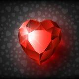 Biglietto di S. Valentino vermiglio black-01 del cuore Immagini Stock Libere da Diritti