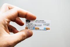 Biglietto di treno della metropolitana di Parigi CDG 2 Parigi fotografie stock libere da diritti