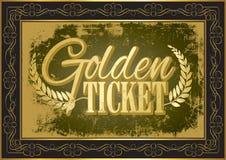 Biglietto dorato illustrazione di stock
