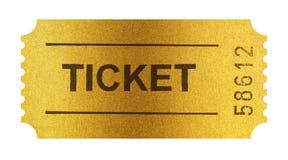 Biglietto dorato isolato su bianco con il percorso di ritaglio Fotografie Stock
