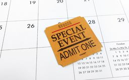 Biglietto e calendario Fotografia Stock