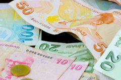 Biglietto e moneta della Lira turca Immagini Stock