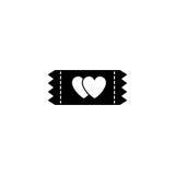 Biglietto per l'icona del solido degli innamorati illustrazione vettoriale