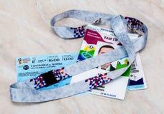 Biglietto per la coppa del Mondo 2018 della FIFA in Russia Fotografia Stock Libera da Diritti