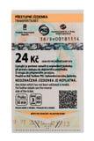 Biglietto per trasporto pubblico a Praga per 30 minuti, costante 24 Fotografie Stock