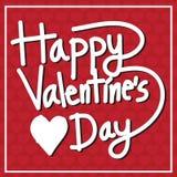 Biglietto postale felice di San Valentino, illustrazione di vettore Immagini Stock Libere da Diritti