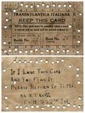 Biglietto transatlantico del pasto della nave del vapore Fotografie Stock