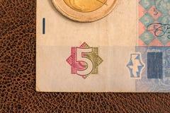 Biglietto ucraino, una fattura di cinque Fotografie Stock