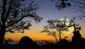 Bigmoon Silhouette background Nam Nao District, Phetchabun Province in northern Thailand Royalty Free Stock Image
