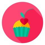 Bigné con Cherry Circle Icon Immagine Stock