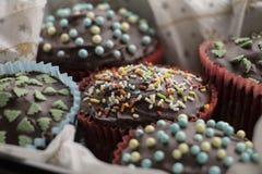 Bigné con le decorazioni della glassa e dello zucchero del cioccolato Immagini Stock Libere da Diritti