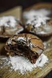 Bigné del cioccolato con la forcella Fotografia Stock Libera da Diritti
