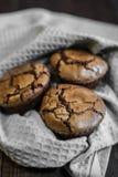 Bigné del cioccolato con la forcella Immagine Stock Libera da Diritti
