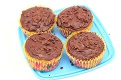 Bigné del cioccolato con la forcella immagine stock