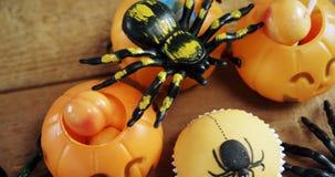 Bigné del ragno di Halloween su una tavola di legno 4k video d archivio